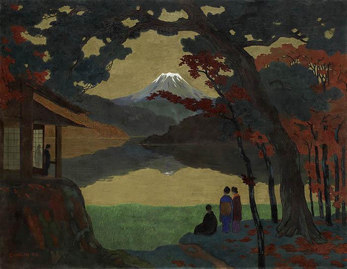 Emil-Orlik-Paesaggio-con-il-monte-Fuji-1908-Courtesy-Daxer-Marschall-Gallery-Monaco
